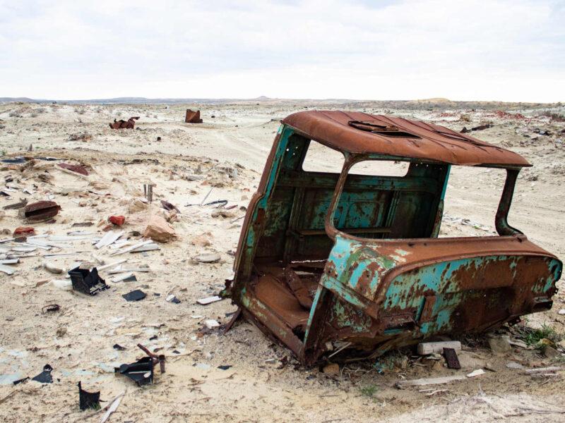 Den forladte by i Turkmenistan