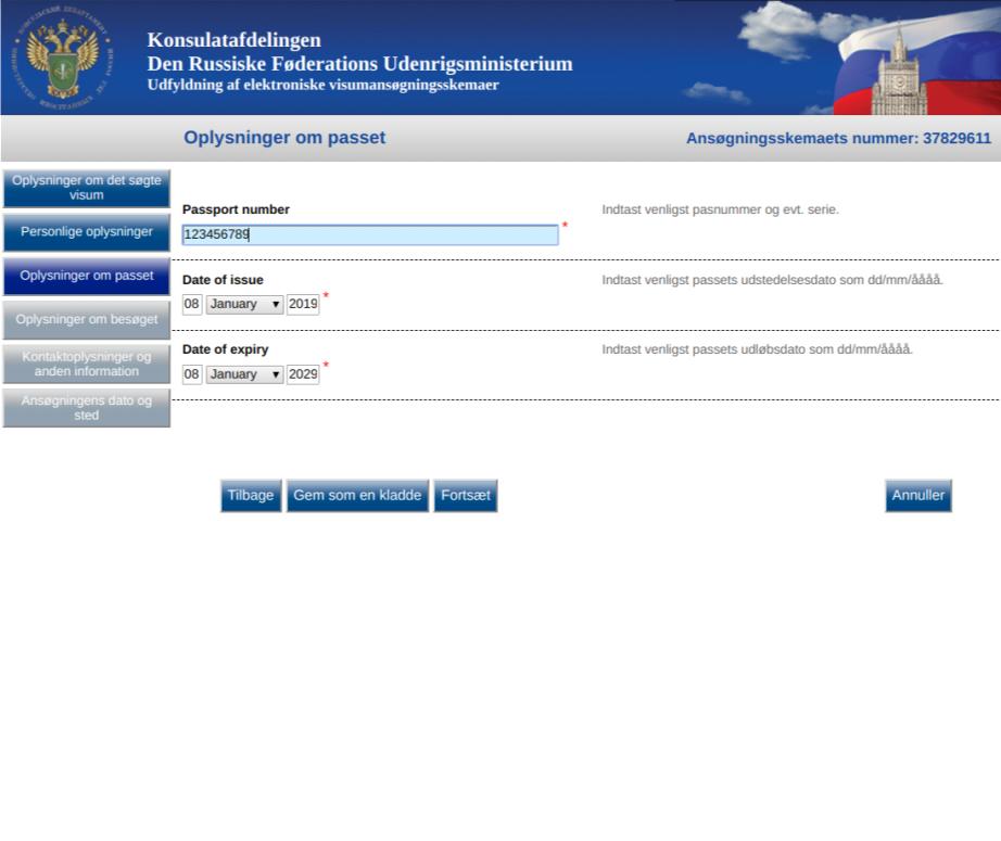 Russisk visum ansøgning